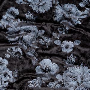 Black Stretch Velour with Metallic Slate Floral Foil