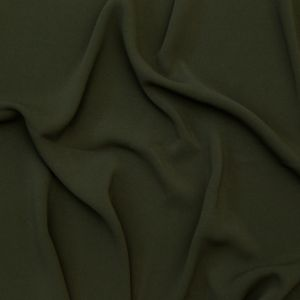 Italian Olive Stretch Polyester Crepe Suiting