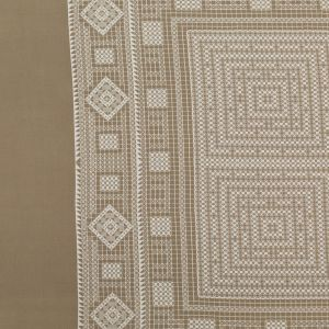 Beige and White Crochet Lace Printed Silk Crepe de Chine Panel