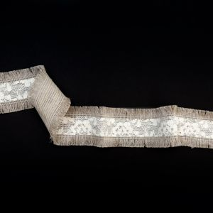 Italian Natural and Ivory Lace Trim with Fringe Edges - 2