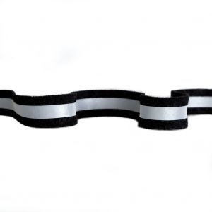 Italian Black and Silver Reflective Wool Trimming - 1