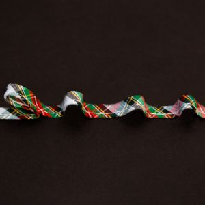 Italian Green, Blue and Red Plaid Bias Piping Cord with Lip - 0.375