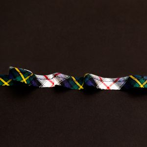 Italian Navy and White Plaid Bias Piping Cord with Lip - 0.375