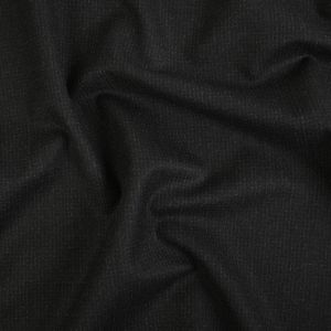 Heathered Black Checkered Twill Wool Suiting