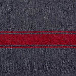 Reversible Navy, Red and White Striped Cotton and Wool Twill