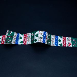 Red, Green and Blue Striped Christmas Ribbon - 1.875