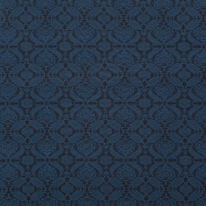Italian Shimmering Navy and Black Damask Printed Stretch Ponte Knit