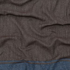 Reversible Navy, Brown and White Striped Cotton and Wool Twill