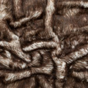 Brown Thick Faux Fur with White Roots