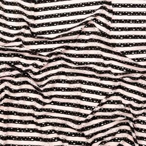 Rosewater and Black Striped Perforated Stretch Knit