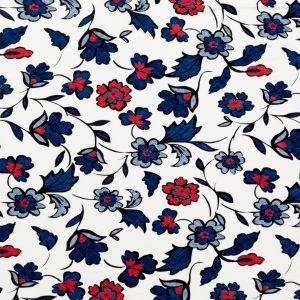 Red, White and Blue Floral Printed Rayon Jersey
