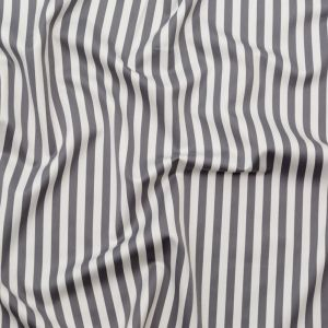 Gray and Ivory Bengal Striped Stretch Polyester Twill