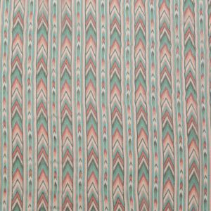 Jade and Coral Geometric Crinkled Silk Chiffon with Metallic Gold Stripes