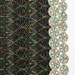 Black Cotton Woven with Multicolor Embroidery and One Finished Edge