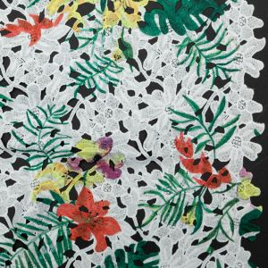Tropical Floral Printed Guipure Lace