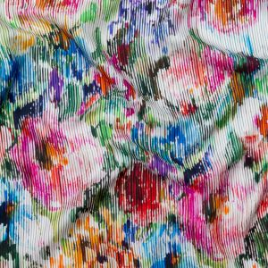 Multicolor Abstract Floral Striped Silk Twill