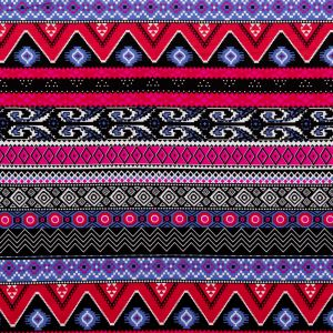 Raspberry and Wedgewood Tribal Stretch Polyester Jersey