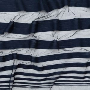 Italian Navy Netting with Woven Stripes