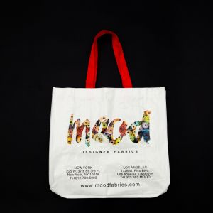 Mood Designer Fabrics White Bolt Tote Bag with Red Handles