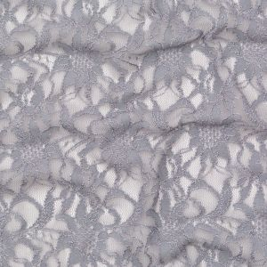 Metallic Silver and Griffin Gray Re-Embroidered Stretch Floral Lace