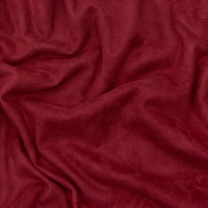 Italian Cranberry Stretch Faux Suede with Pale Beige Faux Fur Backing