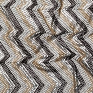 White, Black, Gold and Silver Zig Zag Baby Sequins