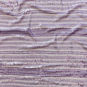 Fuchsia Pink and White Striped Stretch Shell Sequins on Iris Orchid Mesh