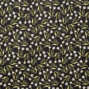 Italian Rasin Black, Mint White and Lime Green Floral Silk and Cotton Satin