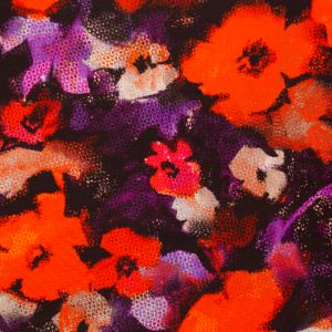 Milly Ganache and Tangerine Abstract Floral Cotton Faille