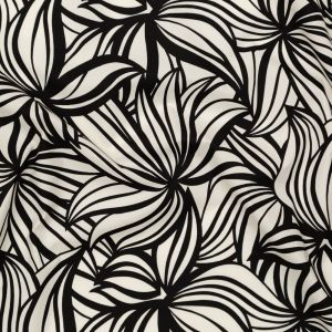 Theory Black and White Abstract Floral Printed Cotton Poplin