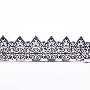 European Black Geometric Embroidered Lace on Mesh - 5.875