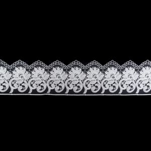European White Floral Embroidered Lace on Mesh - 3.875