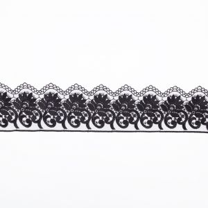 European Black Floral Embroidered Lace on Mesh - 3.875