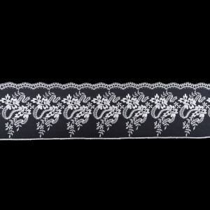 European Off-White Floral Embroidered Lace on Mesh - 4