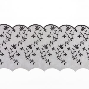European Black Scalloped Embroidery Lace on Mesh - 9.5