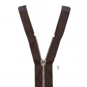 Mood Exclusive Italian Brown and Silver T3 Open End Metal Zipper - 27.5
