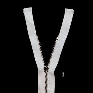 Mood Exclusive Italian White and Silver T3 Open End Metal Zipper - 27.5