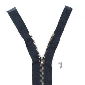 Mood Exclusive Italian Navy and Silver T5 Open End Metal Zipper - 27.5