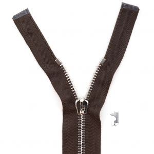 Mood Exclusive Italian Brown and Silver T5 Open End Metal Zipper - 27.5