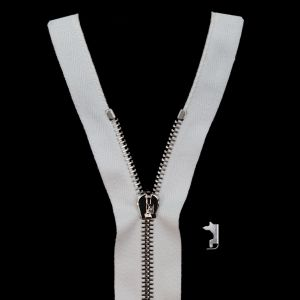 Mood Exclusive Italian White and Silver T5 Open End Metal Zipper - 27.5