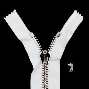 Mood Exclusive Italian Off-White and Silver T8 Closed End Metal Zipper - 9