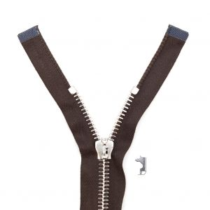 Mood Exclusive Italian Brown and Silver T8 Open End Metal Zipper - 27.5