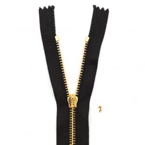 Mood Exclusive Italian Black and Gold T3 Closed End Metal Zipper - 9