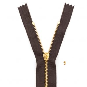 Mood Exclusive Italian Brown and Gold T3 Closed End Metal Zipper - 9