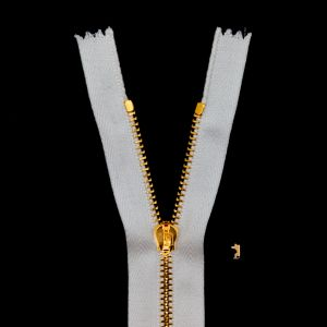 Mood Exclusive Italian Off-White and Gold T3 Closed End Metal Zipper - 9