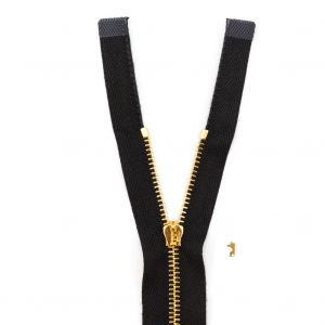 Mood Exclusive Italian Black and Gold T3 Open End Metal Zipper - 27.5