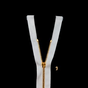 Mood Exclusive Italian Off-White and Gold T3 Open End Metal Zipper - 27.5