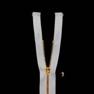 Mood Exclusive Italian White and Gold T3 Open End Metal Zipper - 27.5