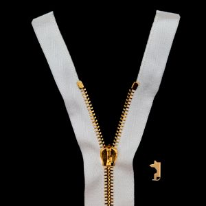 Mood Exclusive Italian Off-White and Gold T5 Open End Metal Zipper - 27.5