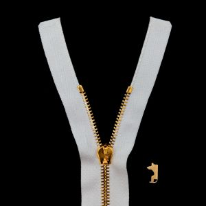 Mood Exclusive Italian White and Gold T5 Open End Metal Zipper - 27.5